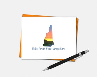 New Hampshire Note Cards - Hello From New Hampshire Note Cards - New Hampshire Stationery
