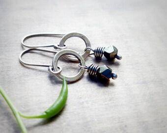 Pyrite Earrings - Pyrite Jewelry - Tiny Circle Earrings - Sterling Silver Earrings - Rustic Silver Earrings - Hammered Silver Earrings