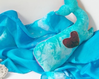Waldorf Stuffed Toy Whale: Ecofriendly Baby Toy,  Plush Stuffed Animal (Hand Dyed Bamboo Velour and Wool) 'Happy'