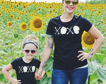 XOXO : Skull and Crossbones. Hugs and Kisses. Cotton Womens Black Tee / Skull, Goth, Punk, Love