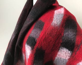 Black and Red Fiber Art Wrap, Hand Felted Shawl, Merino Wool, Silk, Scarf, Elegant, Textile Art, One of a Kind, Dramatic, Colorful
