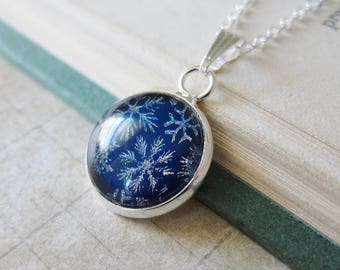 Snow Flurries - Cobalt Blue Snowflake Pendant with Shimmer