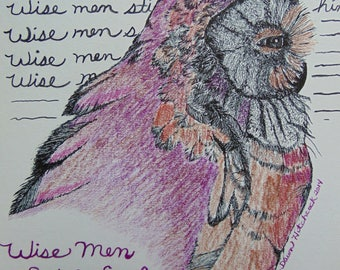 Owl Art, Owl Original, Owl Color Pencil, Original Drawing, Bible Verse, Christian Art, Burgandy Owl, Owl Drawing, Nature Art, Bird Art,Bible