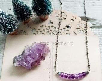 S e e k i n g...Amethyst necklace, Amethyst Crystal, kit, February Birthstone, Aquarius, boho, Balance, Crown Chakra, Pisces FREE SHIPPING