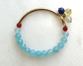 Little Luxe Demi Gemstone Bracelet with Chalcedony in gold...
