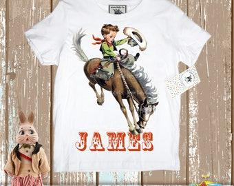 Custom Shirt, Retro Shirt, Cowboy Shirt, Boys Birthday, Cowboy Shirt, Rodeo Shirt, Buckaroo Shirt, Gift for Boy, Retro Cowboy, Choose Name