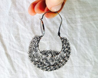 Vintage Oaxacan Filigree Earrings Hoops. Long And Dramatic. Sterling Silver. Mexico. Frida Kahlo