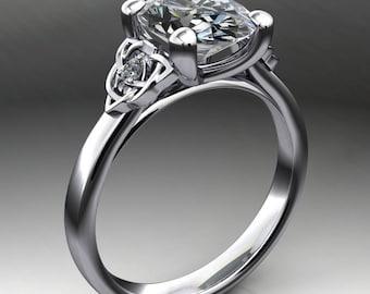 seana ring - 3 carat oval NEO moissanite engagement ring, celtic engagement ring