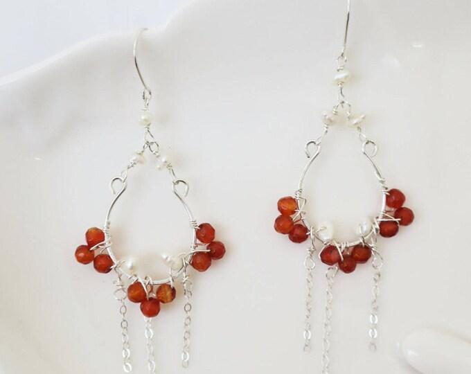 Pearl Garnet Earrings Sterling Silver