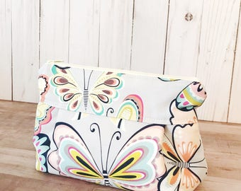 Makeup Bag No. 1 in Lavender Butterflies with Wipeable Lining