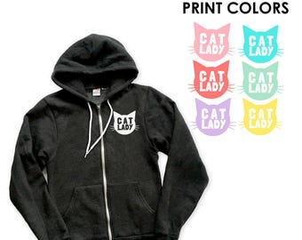 Cat Lady Zip Up Cardigan Hoodie Sweatshirt - Gift for Her, Cat Mom, Cat Lover, Animal Lover, Kitty Fan, Meow, Cat Crazy, cozy