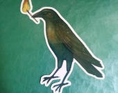 Crow With A Match In Its Beak vinyl die cut 4 inch glossy sticker