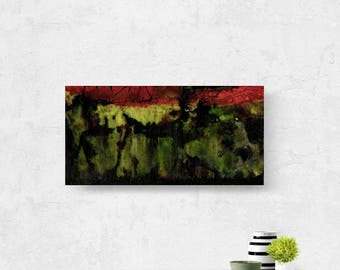 """Abstract Painting, Red, Green, Black, Mixed Media Art, Canvas Original, Contemporary Modern """"Ritual Dance 2"""" Kathy Morton Stanion"""
