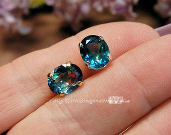 Reserved for Susanne, Peacock Blue Rainbow Mystic Topaz, Wire Wrapped Post-Stud Earrings, Sterling or 14KGF Posts, November Birthstone
