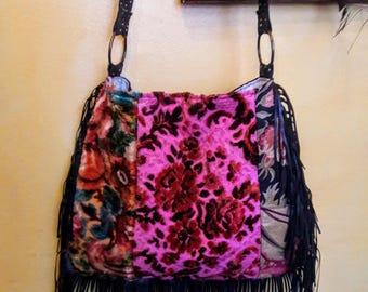 Pretty pink fringe boho bag / crossbody bag / gypsy bag
