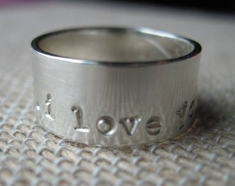 Sterling Silver Ring Band - 8mm wide - Size 6 - Personalized Ring - Wide Ring Band -Wedding Band -Cigar Band -Thick Ring Band -Sterling Ring