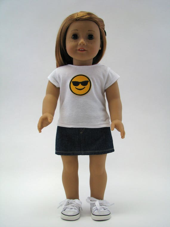 """American Made Doll Clothes - 18 Inch Doll Clothes - Girl Doll Clothes - 18 Inch Doll T-Shirt - Emoji Top - 18"""" Doll Top - Sunglasses Smile"""