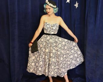 Vintage 1950s Abstract Atomic Print Strapless Dress - Size XSmall