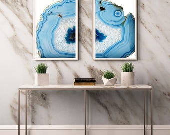 Set of 2 Agate Prints  (Print #010 and 011 )Fine Art Print - Two Paper Choices- Mineral Geode Agate Crystal Decor