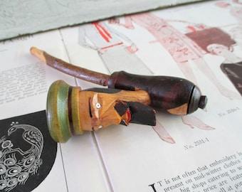 Vintage Italian Folk Art Carved Figural Pipe