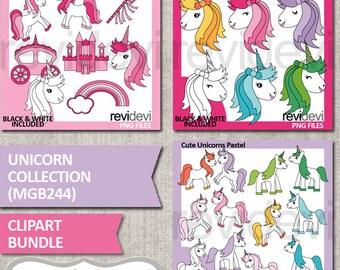 Unicorn clipart bundle sale / fairytale white pony unicorn clip art / unicorn head / commercial use, pastel colors