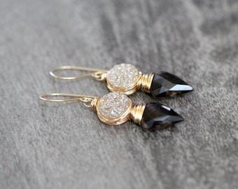 Arrowhead Druzy Gemstone Earrings , Bezel Wrapped Smoky Quartz Champagne Druzy Gold FIlled Tribal Fashion - Compass
