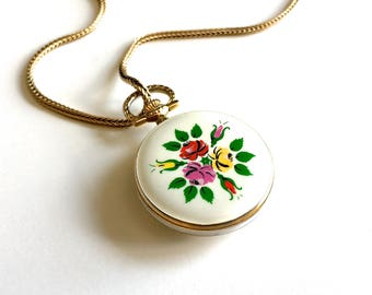 Vintage Enamel Watch Pendant Gold Filled Long Chain Necklace -  Self Wind Up - Mechanical Watch