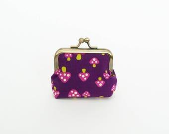 Coin purse, mushroom fabric, purple and pink mushroom design, cotton purse