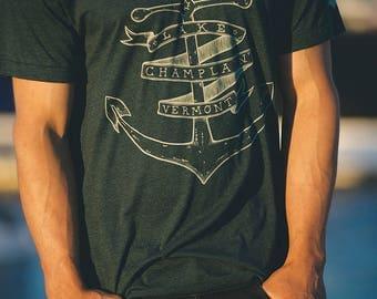 Lake Champlain Anchor shirt screenprinted tee american made