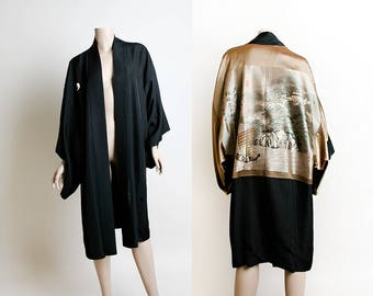 Vintage Japanese Kimono - Haori Style Double Sided Reversible Japan Town Boat Print - Embroidered Silk - Gold Bronze Black