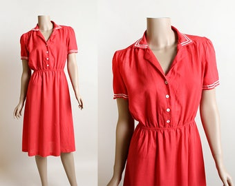 Vintage Nautical Sailor Dress - 1970s does 1940s Cherry Red and White Classic Sailor Collar Dress - Button Up Front - Small