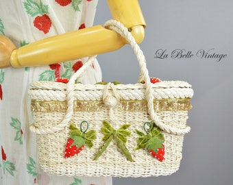 Velvet Strawberry Purse Vintage 60s Ivory Straw Handbag
