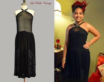 1920s Halter Flapper Dress S M Vintage Beaded Sheer Chiffon Frock & Purse
