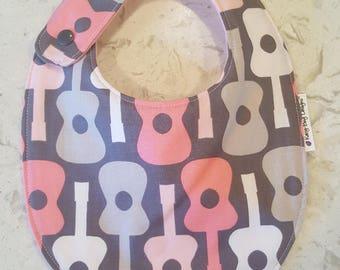 Guitars in Pink & Gray, Novelty Baby Girl Everyday Bib, Michael Miller Designer Fabric