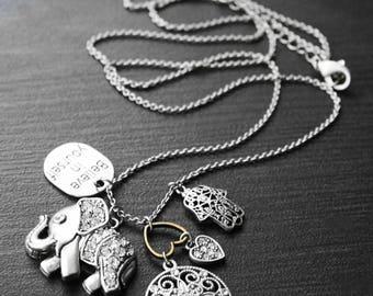 Charm Necklace, Inspiration Charm, Elephant Pendant, Silver Charm Necklace, Long Chain, Silver Chain, Elephant Trails Silver Charm Necklace