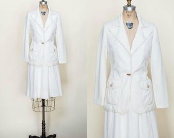 1970s Womens Western Suit --- Vintage Cream Secretary Set