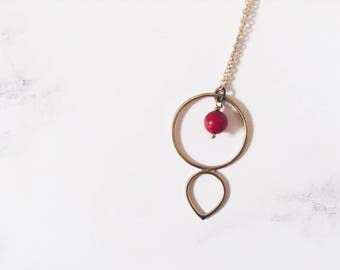 Circle & drop necklace in brass, red bamboo coral, simple minimal necklace, mystic necklace
