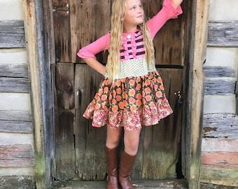 Pumpkin dress Thanksgiving dress Pumpkin Patch Halloween orange brown girls Fall dress Fall portrait dress  Momi boutique girl's dress