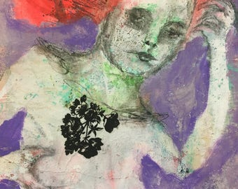 Flower Girl, Outsider, Mixed Media Painting, Folk Art, Abstract, Collage, Mystele