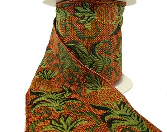 """Pineapple Tapestry Fall Tones Wired Ribbon  4"""" Wide"""