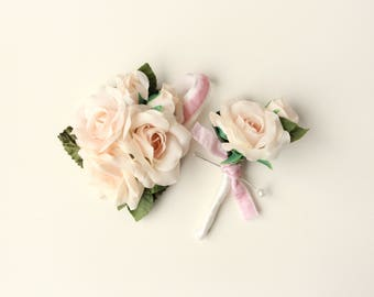 Corsage and boutonniere set, Wedding pin set, Peach rose, Light pink flower boutonniere, Mother of the bride, Groomsmen set