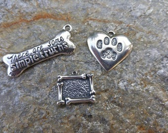 DESTASH SALE!!  Pet Charms Pet Paw Dog Bone Frame Simple Truths Bone Sterling Silver