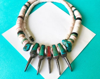 RESERVED..Santo Domingo Sterling Silver Bear Claw Inlay Necklace