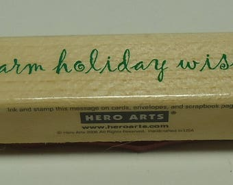 Warm Holiday Wishes Wood Mounted Rubber Stamp By Hero Arts C4207 Warm Wishes, Christmas, Holiday, Winter, Season, Greeting