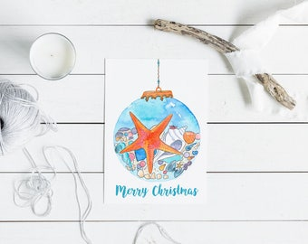 Beach Christmas Card - watercolour star starfish christmas bauble - A6 watercolour print