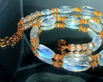 18k Gold Translucent Flashy Moonstone Faceted Nugget Opal Necklace in Vermeil Sterling Silver