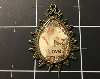 Lurcher Love Pendant, Golden Glittered Greyhound, 50% goes to Grey2KUSA