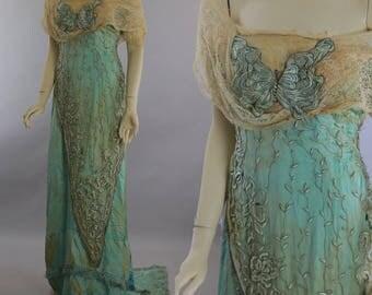 Antique Edwardian era beaded evening gown trained Titanic aqua silk butterfly dress