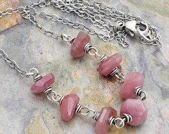 Pink Sapphire Gemstone Necklace - September Birthstone Necklace - Pink Corundum - Random Facets Pink Gemstone - Gift for Her - #4652