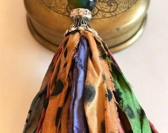 Sari Silk Tassel Necklace-Multi Jewel Tone With Dots-Boho Tassel Jewelry